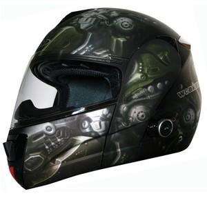 Moto přilba WORKER V210 Bluetooth + Interkom - Barva LEH-crazy skull, Velikost XS (54)