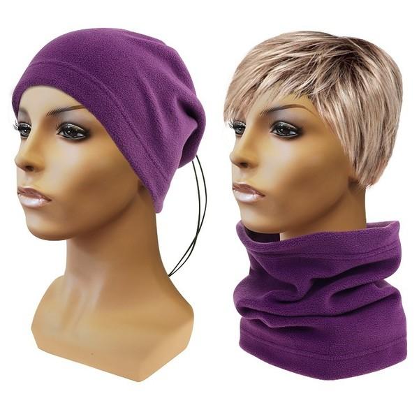 Multifunkční šátek 2v1 Fleece, fialový
