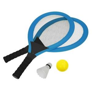 Set na plážové hry tenis / badminton 2xraketa, soft loptička, badm. Košík, modrá