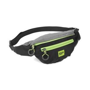 Spokey BOREAS menší sportovní ledvinka černo-šedá, zelený zip, 3 l