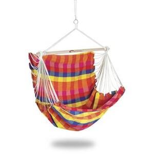 Spokey BENCH DELUXE KÁRO barevné Houpací síť - sedátko pro dva, do 160 kg